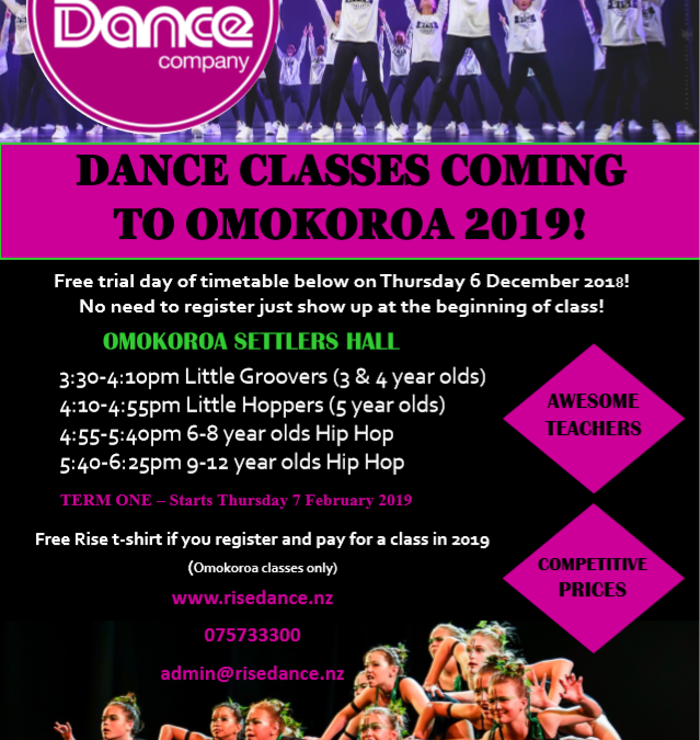 Rise Dance is coming to Omokoroa in 2019
